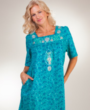 Plus Cotton House Dresses - La Cera Short Sleeve Dress in Teal Mint
