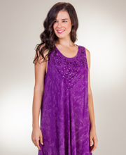 Beach Dress - Cotton One Size Sleeveless Dress in Purple Batik