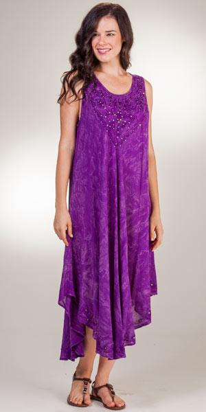 Beach Dress Cotton One Size Sleeveless Long In Purple Batik