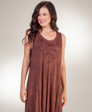 Beach Dresses - One Size Sleeveless Cotton Dress in Mocha Batik