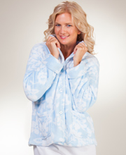 "La Cera ""Snuggle Fleece"" Mandarin Collar Bed Jacket - Blue Floral"