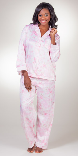 Z6-6-2016AMAZONBrushed Back Satin Sleepwear - Miss Elaine Long Sleeve PJs  in Floral Pink 2feb1867e
