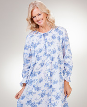 Cotton La Cera Robe - Long Button-Front Robe in Moonstone Roses