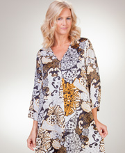 """N"" by Natori V-Neck Zip Front Poly Long Caftan - Deco Blooms"