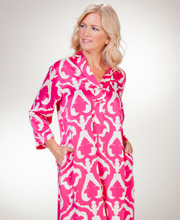 Natori N Caftan -  Long V-Neck Poly Charmeuse Kaftan In Fuchsia Echo