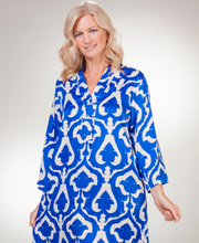 "V-Neck Natori ""N ""Poly Charmeuse Long Caftan in Royal Echo"