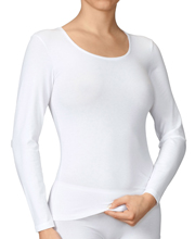 "Calida Cotton Undershirts (15027) - ""Comfort"" Long Sleeve Top in White"
