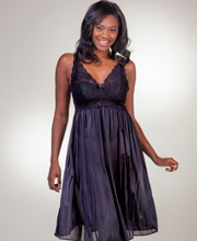 Shadowline Silhouette Sleeveless Short Nightgown in Black