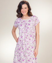 Short Cotton-Rich La Cera Short Sleeve Nightgown in Violet Blossoms