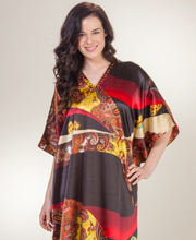 Sante Women's Caftans - One Size Beaded Satin Kaftan in Pinata Paisley