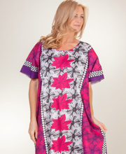 Cotton Long Caftan in Magenta Shadow