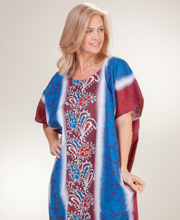 One Size Cotton Long Kaftan Loungers in Lattice Maroon