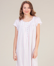 Eileen West Cotton Knit Cap Sleeve Mid Length Nightgown - Laurel Savvy