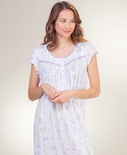 Eileen West Cotton-Modal Knit Cap Sleeve Nightgown - Sweeping Floral