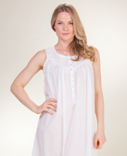 Eileen West Long Swiss Dot Cotton Sleeveless Nightgown in Imperial