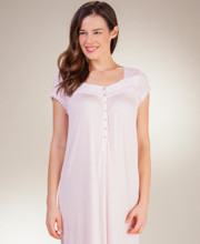 Nightgowns by Eileen West - MicroModal Knit Short Sleeve - Poetry Pink