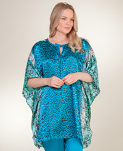 Charmeuse Satin Kaftan Sets - Winlar Kaftan/Pajama Set in Ocean Cheetah