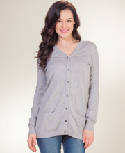 La Cera V-Neck Long Cotton Knit Cardigan Sweater - Grey