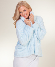 "La Cera Bed Jacket - Shawl Collar ""Marshmallow Fleece"" in Blue"