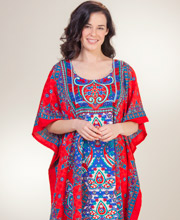 Plus Poly Kaftans - Sante One Size Long Caftan in Caribbean Brilliance