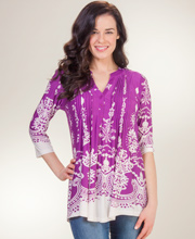 Pleated La Cera 3/4 Sleeve Poly Blend Tunic Top - Ethereal Amethyst