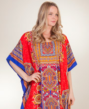 Caftans by Sante - Full Length Polyester Caftan in Coral Majesty