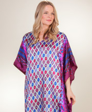 Satin Charmeuse One Size Winlar Caftan in Geo Diamonds