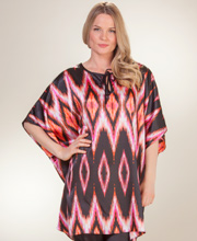 Winlar Charmeuse Satin Kaftan/Pajama Set - Evening Flame