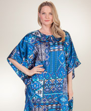 Winlar Caftans - Satin Charmeuse One Size Lounger in Mexican Blues