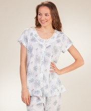 Short Sleeve Pajamas - Button Front Knit PJs in Blue Harmony