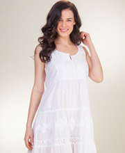 La Cera Boutique Sleeveless Mid Cotton Dress/Nightgown in Sunday White