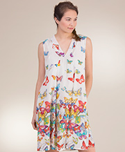 Sundress by La Cera - Sleeveless Short Cotton Dress in Butterfly Wishes