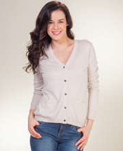 Cotton Sweaters - La Cera Knit V-Neck Cardigan with Pockets In Ecru