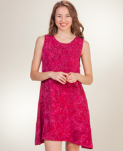 Sleeveless A-Line Short Batik Dress by Eagle Ray in Sweet Pomegranate