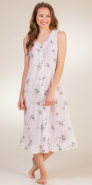Long Sleeve Nightgown by Eileen West - Button Front Robe. Long Cotton Robe/Nightgown - Eileen West button front robe is available in Misty Rosebud, a .