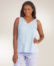 Jockey Pajamas - Cotton-Rich Tank Top & Capri Set in Periwinkle Vine