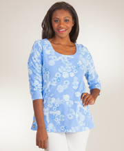 2/3 Sleeve 100% Cotton Tunic Top by I Can Too in Peri Shell Collection