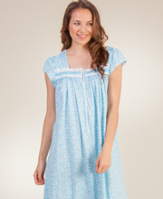 Cotton Knit Long Gown - Eileen West Cap Sleeve in Aqua Star