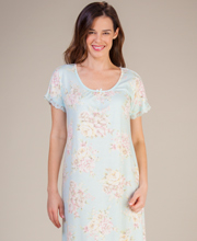 Miss Elaine Nightgown -  Long Sofiknit Flutter Sleeve in Pastel Bouquet