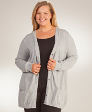 Plus V-Neck La Cera Long Cotton Knit Cardigan Sweater - Grey