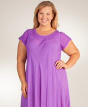 0c6774bb1b Plus Cotton Dress - Cap Sleeve One Size Long Sun Dress in Grape