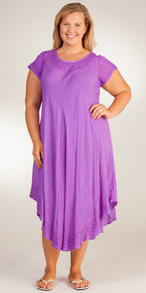 Plus Cotton Dress - Cap Sleeve One Size Long Sun Dress in Grape