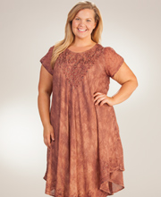 Dresses for Women - Short Sleeve One Size Cotton Coverup - Mocha Batik