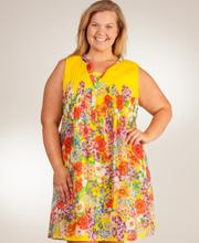1ca4c89d4 Plus La Cera 100% Cotton Sleeveless Pleated Short Sundress - Yellow Vision