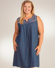Plus La Cera Dresses - Short Sleeveless Cotton Dress in Gladsome Blues