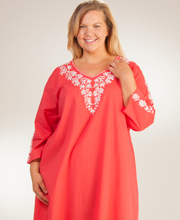 Plus La Cera Caftan - Embroidered Woven Cotton 2/3 Sleeve - Coral Sunset