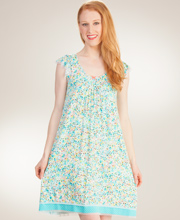 Rayon Ellen Tracy Flutter Sleeve Short Nightgown in Hawaiian Sprinkle