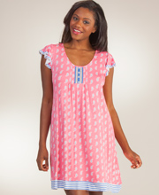 Ellen Tracy Cap Sleeve Short Rayon Nightgown in Tranquil Paisley