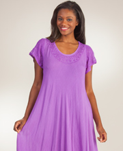 Summer Dress - Cap Sleeve Cotton One Size Long Dress in Grape