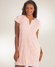 Ellen Tracy Sleepshirt - Polyester Short Sleeve Gown in Hawaiian Piki